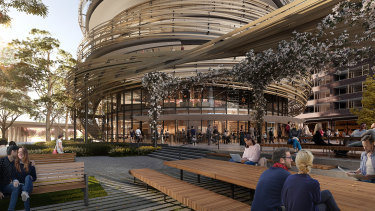 "The ""bird's nest"": The Exchange, a mixed-use building at the heart of Lendlease's Darling Square precinct and designed by Japanese architecture firm Kengo Kuma and Associates"