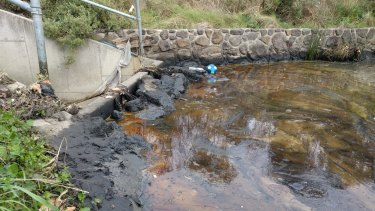 Oil dumped into Melbourne's stormwater system. Supplied