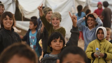 Islamic State children in al Hawl camp in north-east Syria.