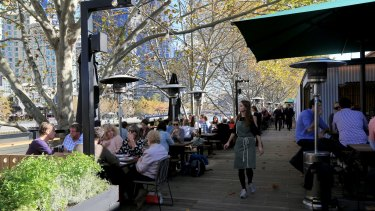 The outdoor area at Arbory Bar & Eatery on the Yarra River.