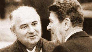 Soviet leader Mikhail Gorbachev with then US president Ronald Reagan in 1985 ... the Soviets embraced his success.