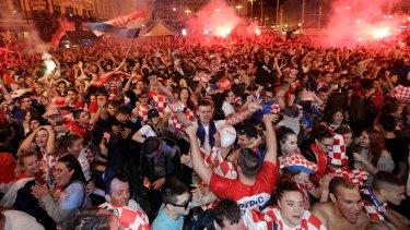 Croats celebrate the semi final win in Zagreb.