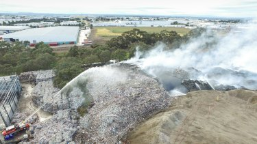 The fire at the SKM plant in Coolaroo where tonnes of recycling had been stockpiled.