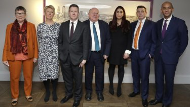 Seven MPs from left, Ann Coffey, Angela Smith, Chris Leslie, Mike Gapes, Luciana Berger, Gavin Shuker and Chuka Umunna.