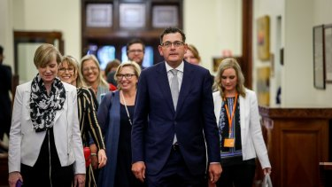 Victorian Premier Daniel Andrews and the late minister for the prevention of family violence Fiona Richardson, left, and Rosie Batty at the release of the royal commission report in 2016.