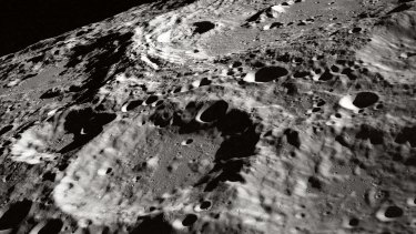 A crater on the Moon's surface pictured in 1969.