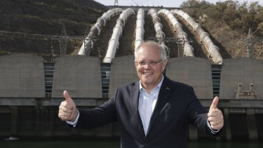 Prime Minister Scott Morrison at the Snowy Hydro power station in Tumut.