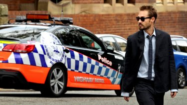Daniel Johns heading to court in Newcastle in February 2015.
