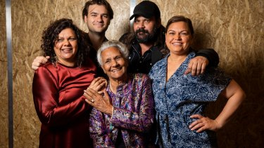 Indigenous film and television pioneer Freda Glynn (centre) with filmmaking family incuding Erica Glynn, Dylan River, Warwick Thornton and Tanith Glynn-Maloney.