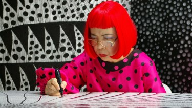 Kusama had herself committed decades ago, and works in her studio every day.