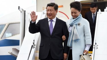 China's President Xi Jinping and his wife Peng Liyuan arrive in Hobart in 2014.