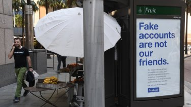 Facebook ads combating fake friends appeared in Sydney and Melbourne late last year.