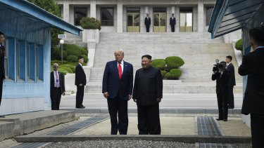 US President Donald Trump and North Korean leader Kim Jong-un stand on the North Korean side in the Demilitarizsed Zone at Panmunjom on Sunday.