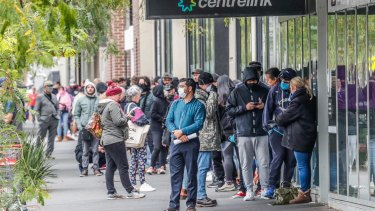 Massive lines outside Centrelink offices in Melbourne in March.