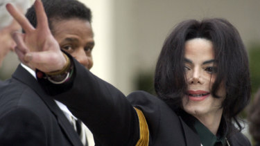 Michael Jackson arrives at his child molestation trial in 2005.