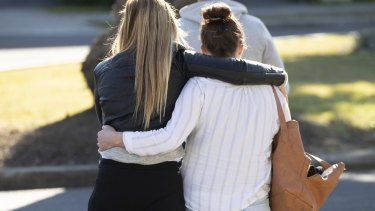 William's biological grandmother and mother outside the Coroners Court on the first day of the inquest.