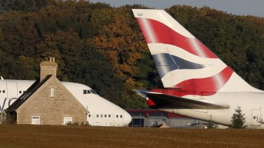 Stuck on the ground ... British Airways planes parked at Cotswold Airport.