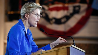 Senator Elizabeth Warren delivers her victory speech at an election night party in Boston last month.