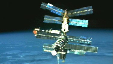 Everything fine but the food: the now-deorbited Russian space station Mir in 1996.