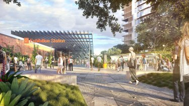 Cross River Rail's proposed Exhibition station at Bowen Hills.