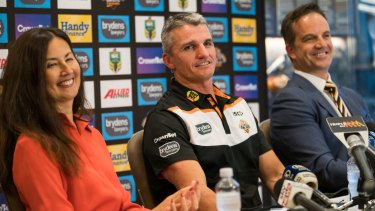 Ivan Cleary (centre) with former Tigers chairwoman Marina Go and chief executive Justin Pascoe after he was announced as Tigers coach back in 2017.