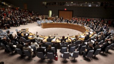 A security council meeting at United Nations.