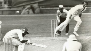 World Series Cricket. Denis Lillee bowls a bouncer to Andy Roberts.