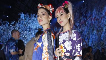 Lisa (left) and Jess Origliasso, of The Veronicas, wearing the latest Camilla collection.