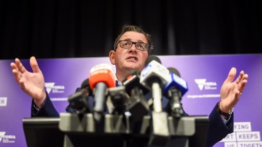 Premier Daniel Andrews speaks at Friday's press conference.