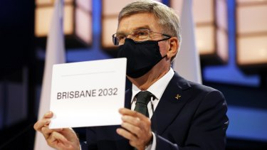 President of the International Olympic Committee Thomas Bach announces Brisbane as the 2032 Summer Olympics host.