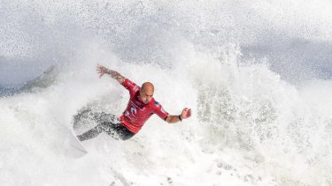Kelly Slater surfs at the World Surfing League Rip Curl Pro at Bells Beach.