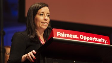 NSW party general secretary Kaila Murnain at the party's conference in 2016.