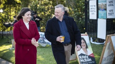 Labor leader Anthony Albanese and Labor candidate for Eden-Monaro Kristy McBain at Merimbula Public School on Saturday.