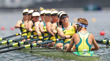 Molly Goodman competing in the women's eight in Tokyo.