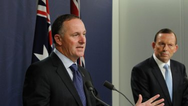 New Zealand prime minister John Key with prime minister Tony Abbott in 2014. Key ended a ban on US Navy ships visiting in New Zealand dating back to the 1980s.