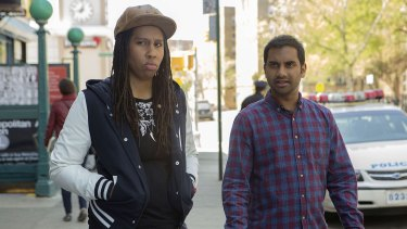 Lena Waithe as Denise and Aziz Ansari as Dev in Master of None.