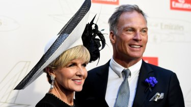 Former foreign minister Julie Bishop and 'boyfriend' David Panton in the Emirates marquee on Derby Day.