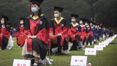 A university graduation ceremony in China during the coronavirus.