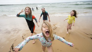 L-R  Sierra Farrelly, 11, Ella Farrelly, 13, Evie Holzer, 7 and Adele Farrelly, 7 (front) at Torquay Foreshore.