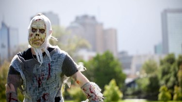 A zombie at Melbourne's annual zombie shuffle in 2016.