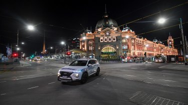 Flinders Street station was silent at 8pm as the curfew began on Sunday night.