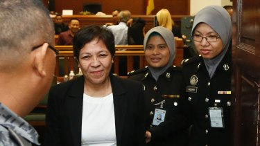 Australian Maria Elvira Pinto Exposto leaves her hearing at the Shah Alam High Court after being found not guilty last year.