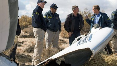 Investigators at the SpaceShipTwo accident site in 2014.