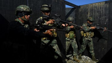 Philippines marines during training with Australian troops in Palawan.
