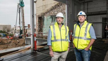 Continental Hotel hotelier Julian Gerner and Steller's Simon Pitard on site.