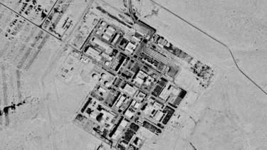 A 1971 spy satellite photograph, later declassified by the US government, shows what now is known as the Shimon Peres Negev Nuclear Research Centre near the city of Dimona, Israel.