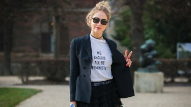Social media influencer Chiara Ferragni wears the Dior 'We Should All Be Feminists' T-shirt.