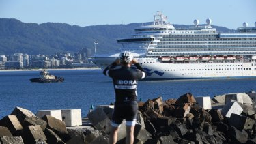 The cruise ship Ruby Princess, from which passengers infected with COVID-19 disembarked in Sydney.