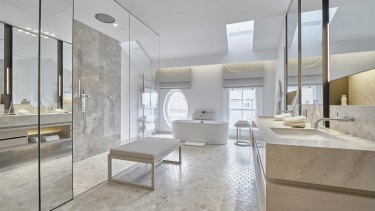 A Heritage room bathroom at Como The Treasury in Perth.