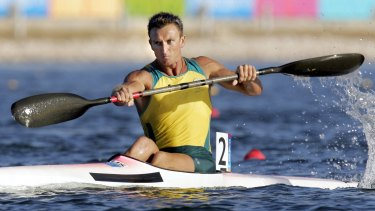 Nathan Baggaley in his silver-medal-winning Olympic kayak race at the 2004 Athens Olympics.